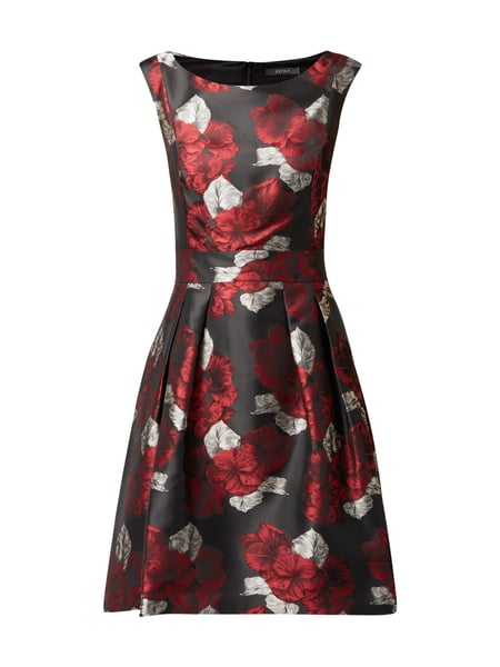 Esprit Collection Cocktailkleid mit floralem Jacquardmuster Schwarz