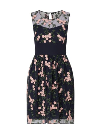 Esprit Collection Cocktailkleid mit floralen Stickereien Blau - 1