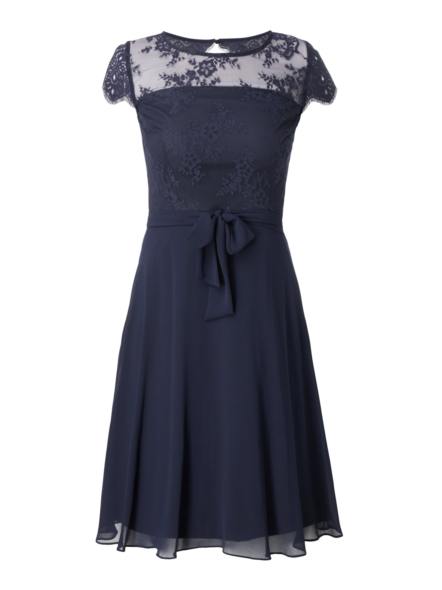 ESPRIT-COLLECTION Cocktailkleid mit floralen Stickereien in Blau ...