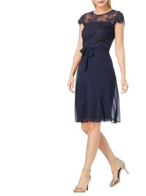 Esprit Collection Cocktailkleid mit floralen Stickereien in Blau / Türkis - 1