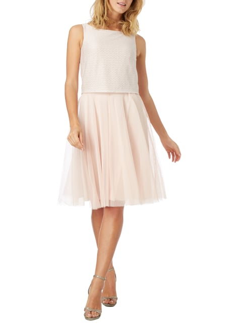 Esprit Collection Cocktailkleid mit Zickzack-Muster aus Effektgarn in Rosé - 1