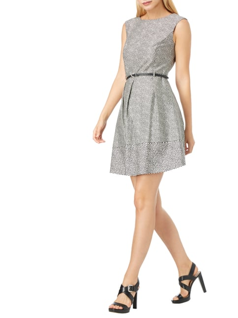 Esprit Collection Kleid mit Punktemuster in Grau / Schwarz - 1