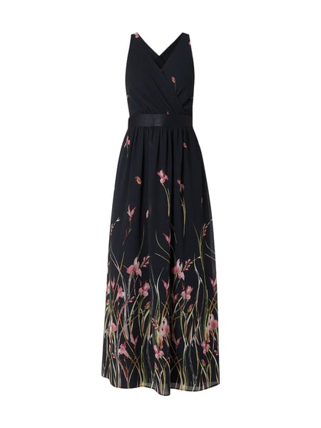Esprit Collection Maxikleid aus Krepp mit floralen Prints Blau / Türkis - 1