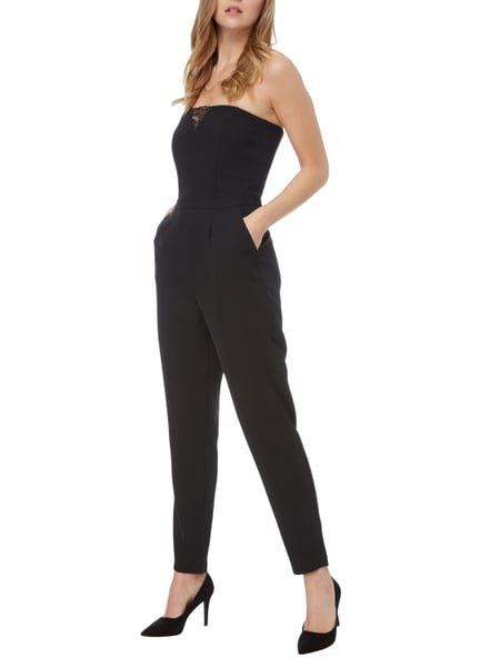 esprit collection off shoulder jumpsuit mit spitzeneinsatz in grau schwarz online kaufen. Black Bedroom Furniture Sets. Home Design Ideas