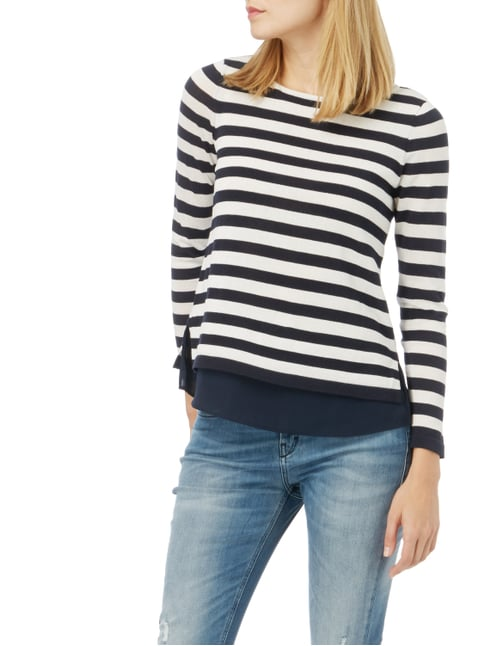 Esprit Collection Pullover im Double-Layer-Look Marineblau - 1