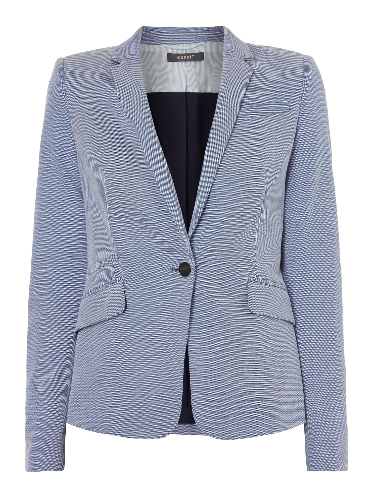 ESPRIT-COLLECTION Slim Fit Blazer mit Webmuster in Blau / Türkis ...