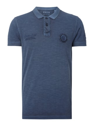 Regular Fit Poloshirt mit Stickereien Blau / Türkis - 1