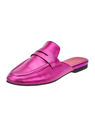 Slip-On Loafer aus Leder in Metallicoptik Rosé - 1