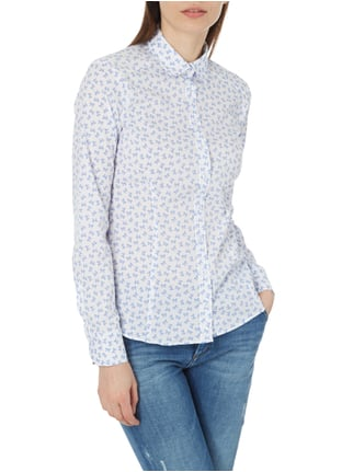 Eterna Slim Fit Bluse mit Allover-Muster Weiß - 1