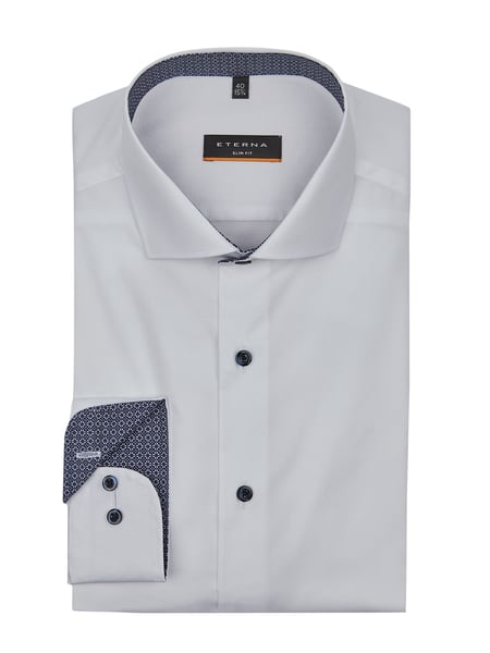 Eterna Slim Fit Business-Hemd aus Popeline Weiß - 1