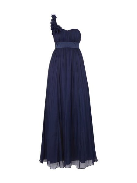 FEVER-LONDON One-Shoulder-Abendkleid aus reiner Seide in Blau ...