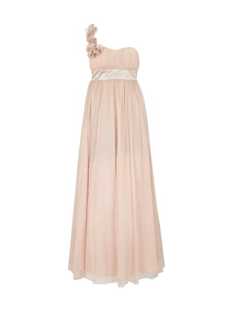 One-Shoulder-Abendkleid aus reiner Seide Rosé - 1