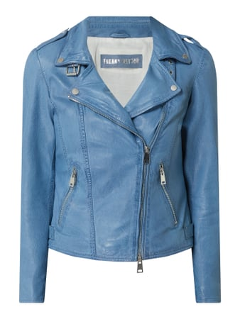Freaky Nation Lederjacke im Biker-Look Blau - 1
