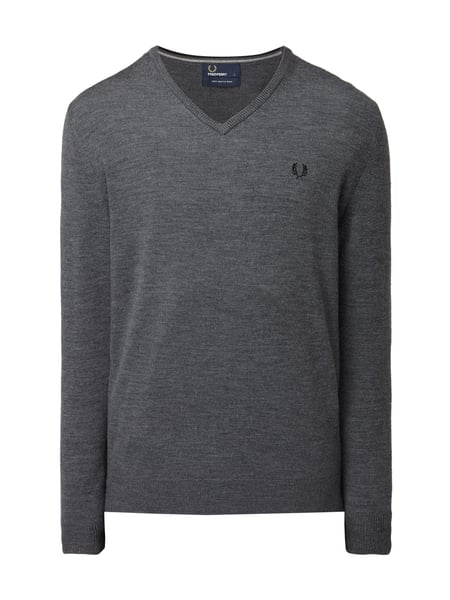 Fred Perry Classic Tipped V - Pullover aus Merinowolle Anthrazit meliert