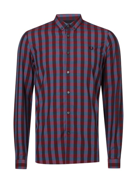Fred Perry Marl Gingham Shi - Slim Fit Freizeithemd mit Karomuster Rot