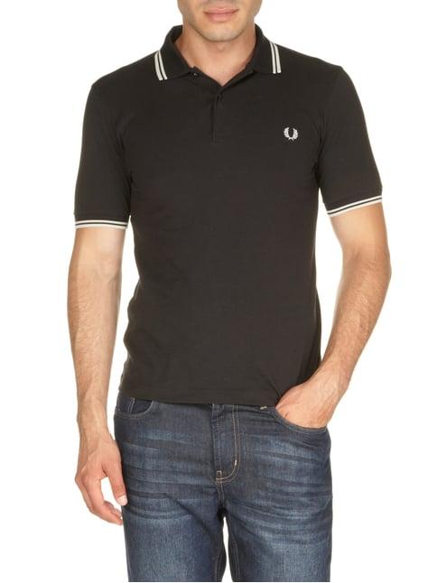 Fred Perry Slim Fit Poloshirt in Grau / Schwarz - 1