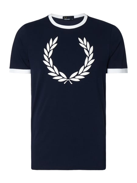 Fred Perry Laurel Wreath Ri - T-Shirt mit großem Logo-Print Marineblau