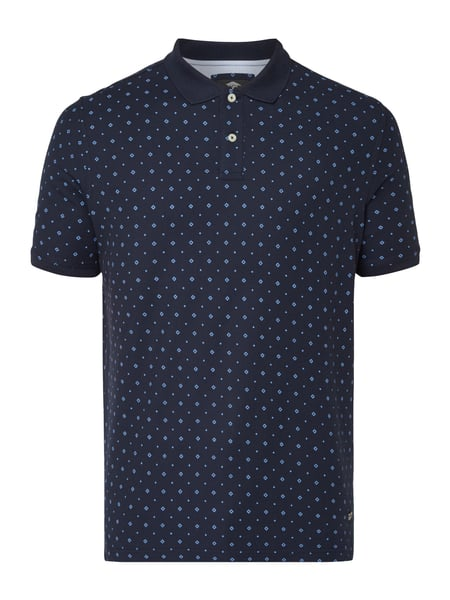 Fynch-Hatton Poloshirt mit Allover-Muster Marineblau