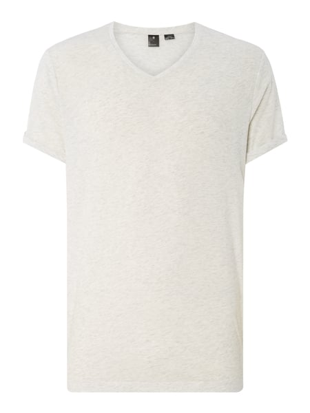 G-Star Raw Felor Regular Vt - Regular Fit T-Shirt mit V-Ausschnitt Offwhite meliert