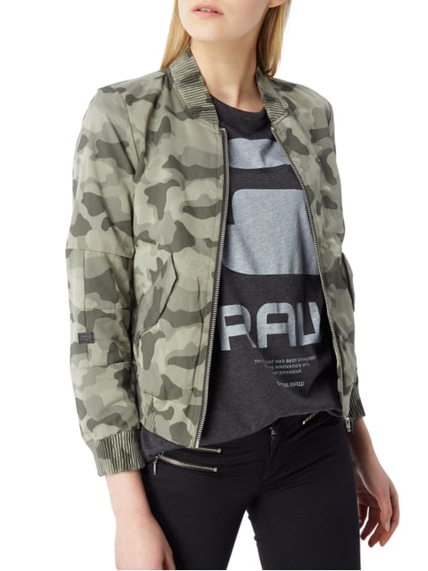 G-Star Raw Slim Fit Bomber mit Camouflage-Muster Olivgrün - 1