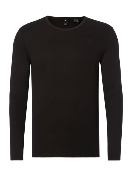 G-Star Raw Base R T L/s - Slim Fit Longsleeve mit Logo-Stickerei Schwarz