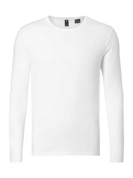 G-Star Raw Base R T L/s - Slim Fit Longsleeve mit Logo-Stickerei Weiß