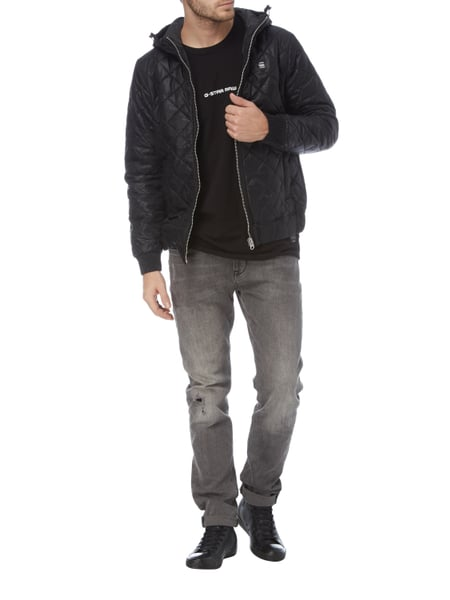 g star raw steppjacke mit kapuze wattiert in grau schwarz online kaufen 9720280 p c online. Black Bedroom Furniture Sets. Home Design Ideas