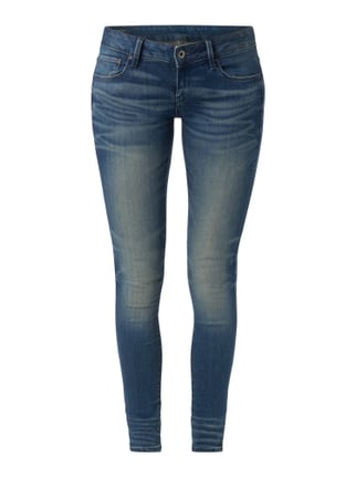 Stone Washed Skinny Fit Low Rise Jeans Blau / Türkis - 1