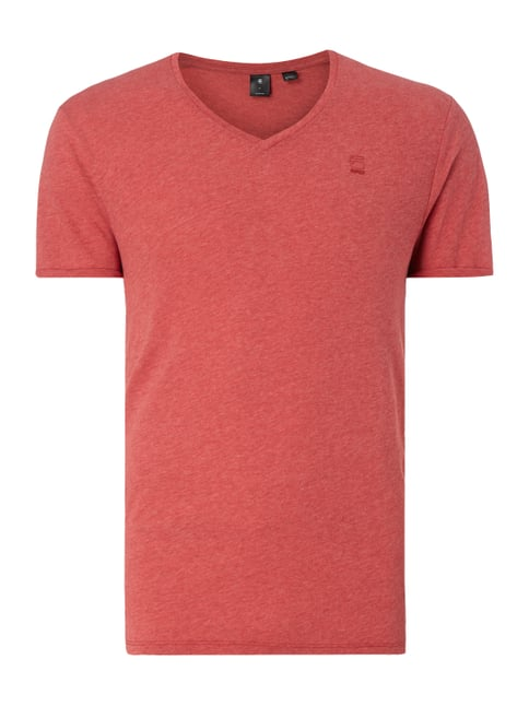 T-Shirt in Melangeoptik Rot - 1