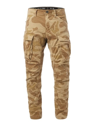 Tapered Fit Cargohose mit Camouflage Weiß - 1