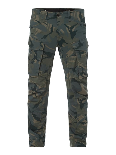 Tapered Fit Cargohose mit Camouflage-Muster Grün - 1