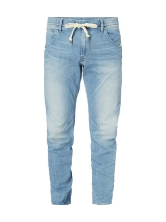 Stone Washed Tapered Fit Jeans mit Tunnelzug Blau / Türkis - 1