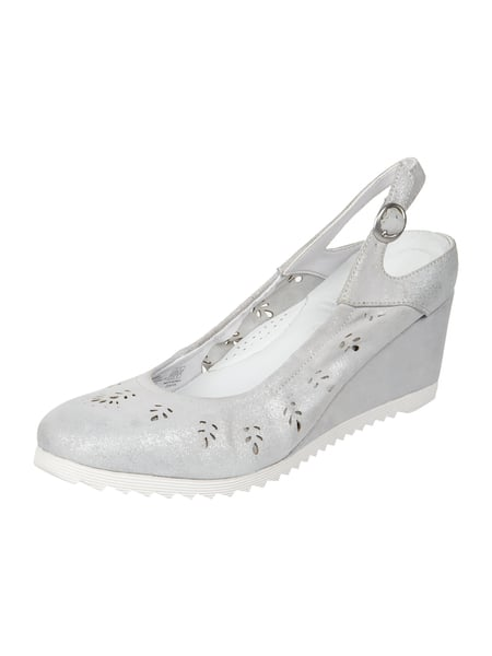 Gerry Weber Shoes Sling Wedges aus Leder in Metallicoptik Hellgrau