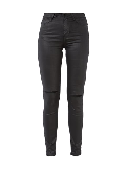 Coated Skinny Fit Jeans im Destroyed Look Grau / Schwarz - 1