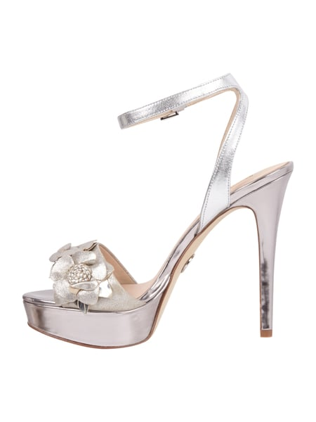new product e538a 56e9a GUESS High Heels aus Leder in Metallicoptik in Grau ...