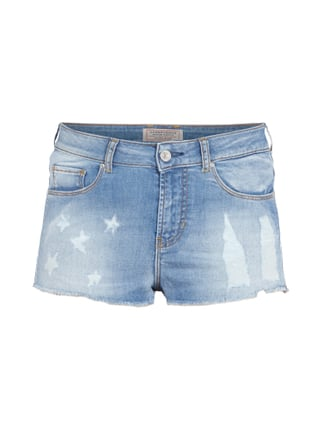 Jeans-Hotpants im Destroyed Look Blau / Türkis - 1