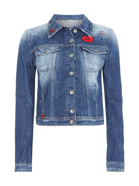 guess jeansjacke mit patches in blau t rkis online. Black Bedroom Furniture Sets. Home Design Ideas