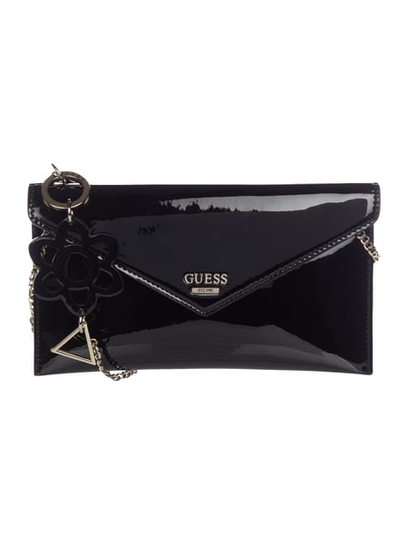 Guess Kuvert-Clutch in Lackoptik Schwarz
