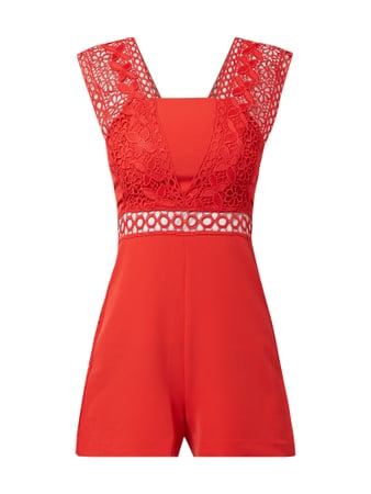 Guess Playsuit mit Häkelspitze Rot - 1