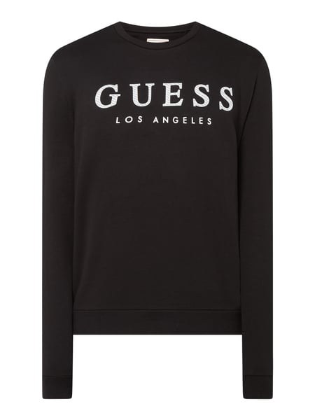 Guess Regular Fit Sweatshirt mit Logo-Print Schwarz - 1