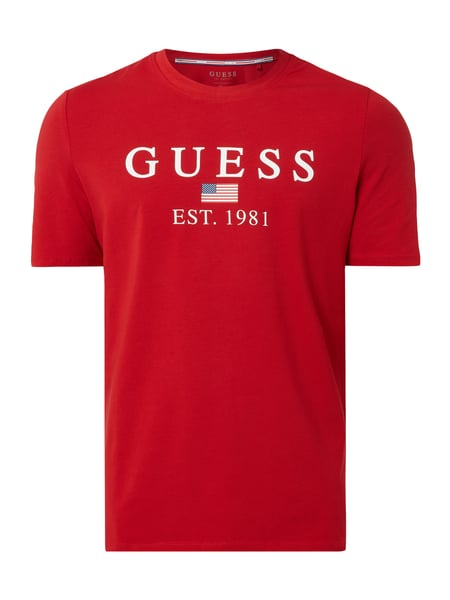 Guess Regular Fit T-Shirt mit Logo-Print Rot - 1