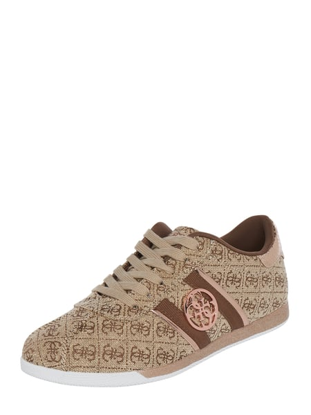 on sale be419 96961 Guess – Sneaker aus Textil mit Logo-Muster – Beige