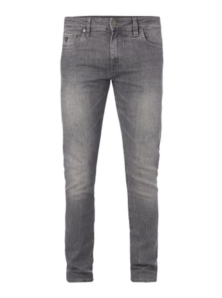 Stone Washed Super Skinny Fit Jeans Grau / Schwarz - 1