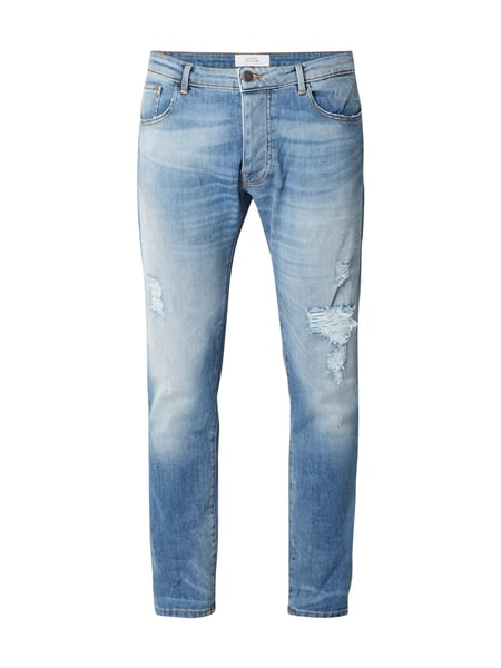 House of Paul Rosen 5-Pocket-Jeans im Used Look Dunkelblau