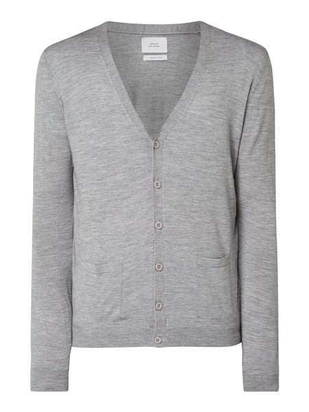 House of Paul Rosen Cardigan aus Woll-Seide-Mix Silber meliert