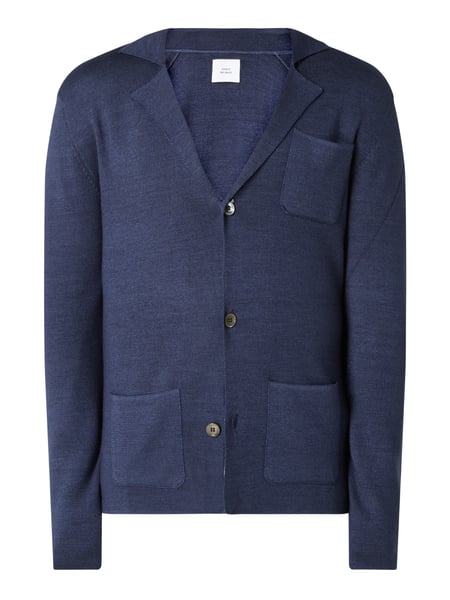 House of Paul Rosen Cardigan aus Wolle mit Reverskragen Blau - 1