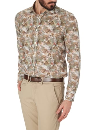 Paul Rosen Men Regular Fit Freizeithemd mit floralem Muster Taupe - 1
