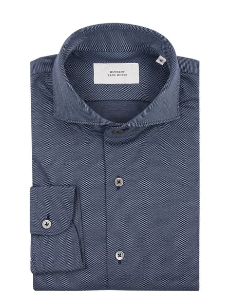 House of Paul Rosen Slim Fit Freizeithemd aus Jersey Blau - 1