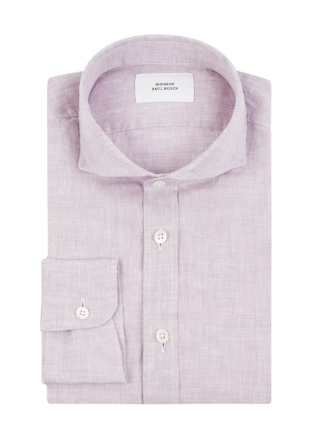 House of Paul Rosen Slim Fit Leinenhemd Rosa - 1
