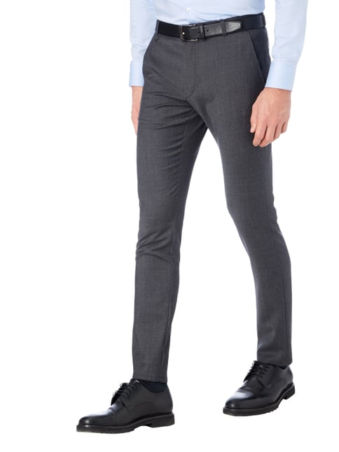 Hugo Extra Slim Fit Chino mit Webstruktur Dunkelgrau - 1